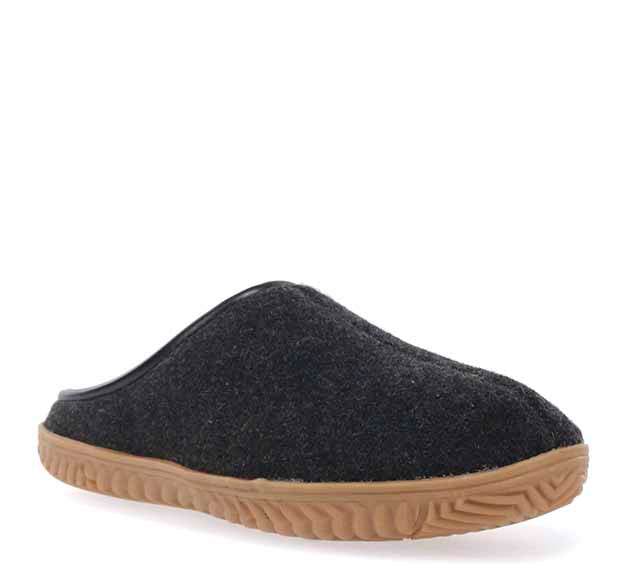 Mens open back slippers in dark grey, with textile upper and tan plush lining.