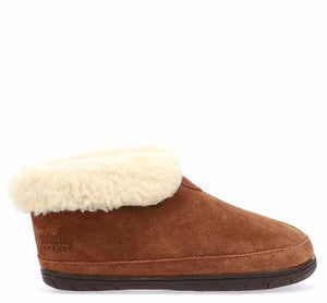 Product image of womens slipper boots with shearling cuff and suede wheat upper.
