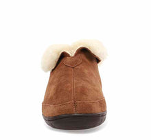 Load image into Gallery viewer, Product image of womens slipper boots with shearling cuff and suede wheat upper.