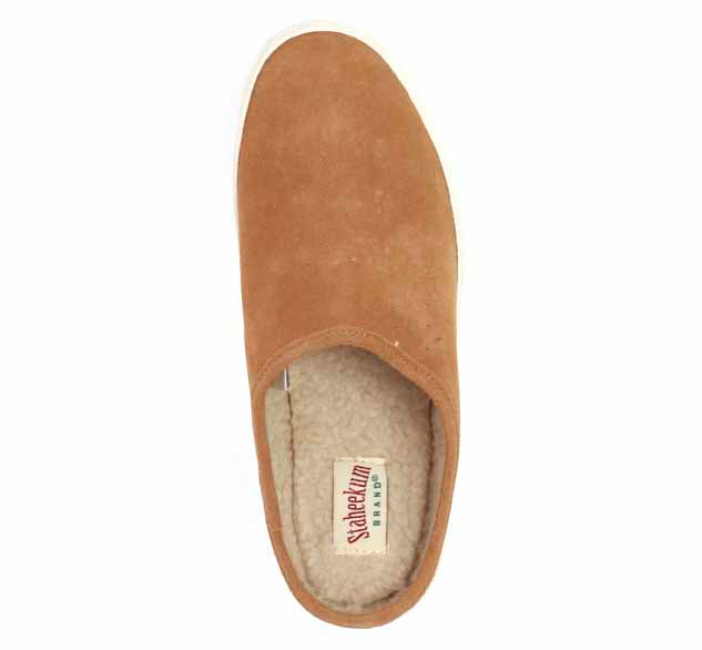Womens slip-on sneakers lippers in wheat with thick white bottom trim and outdoor outsole.