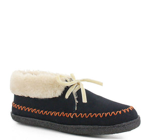 Plush slipper for women in blue with white shearling cuff, laces, and tan stitching.