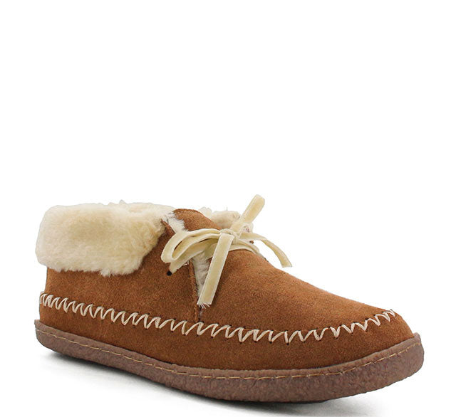 Product image of wheat womens lace slippers with shearling cuff and lace detailing.