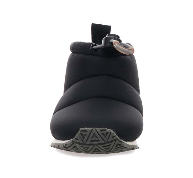Kids nylon slipper bootie with nylon black upper and branded outsole.