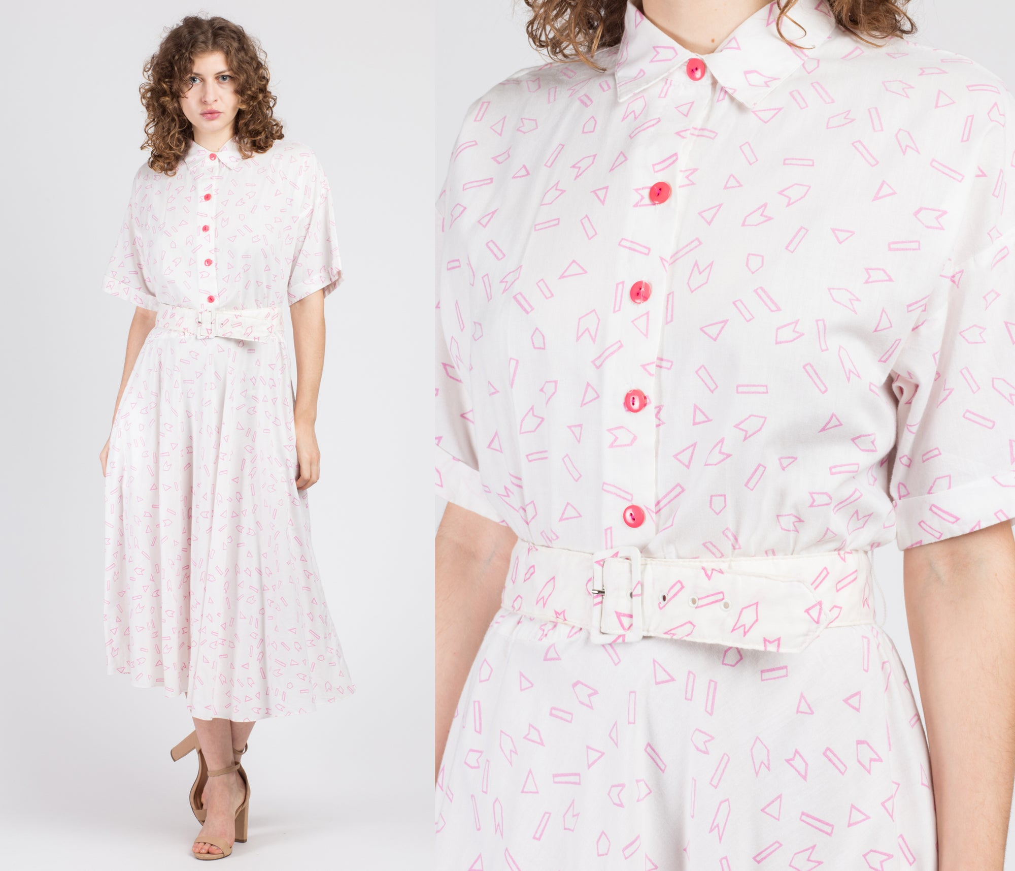 80s Pink & White Geometric Shapes Shirtdress - Medium