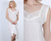 90s Sheer Slip Dress // Vintage Lace Crochet Grunge White Maxi - Medium