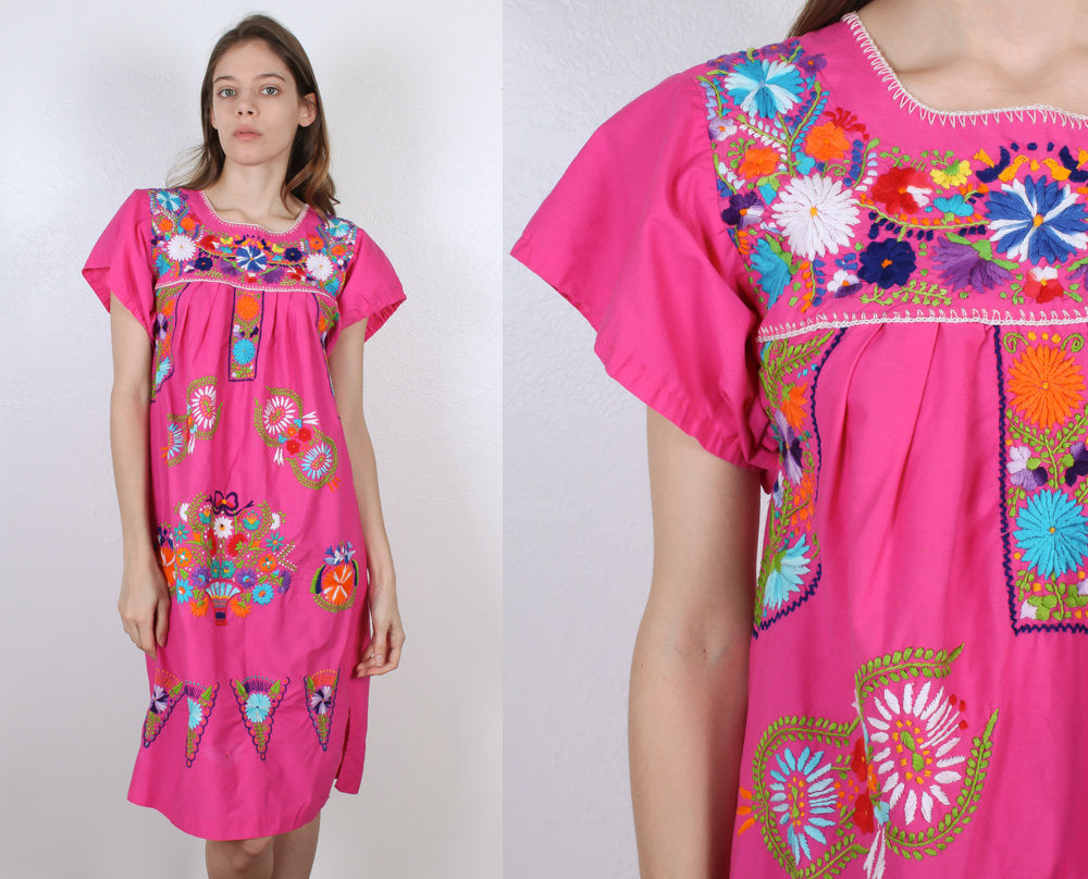 Vintage Pink Mexican Dress // Embroidered Knee Length Boho Hippie Dress - Small