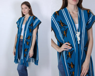 70s Bird Vest // Vintage Boho Knit Blue Fringe Poncho - Small Medium Large