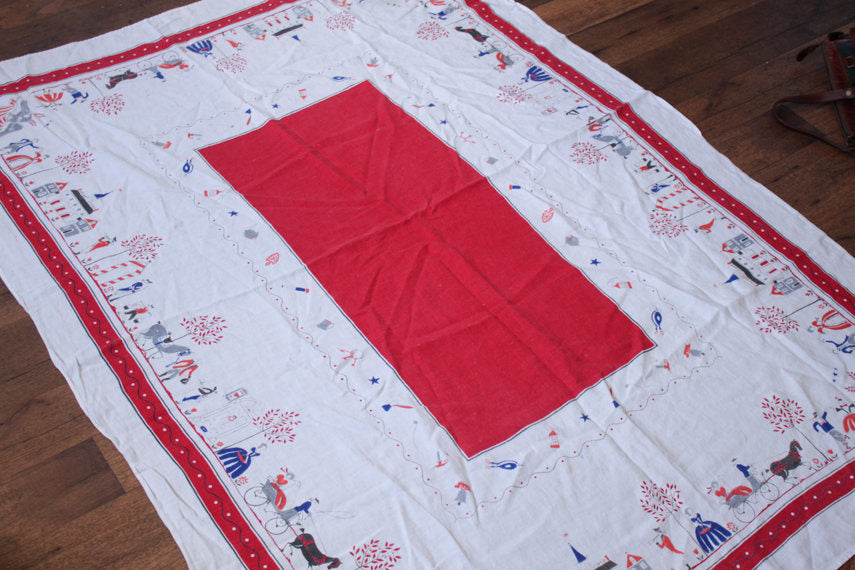 Vintage Tablecloth // 1700s City Design Horses Red White