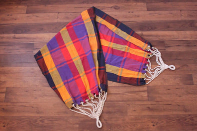Vintage Plaid Hammock // Woven 70s Cotton Bright Multicolored Outdoor Swing