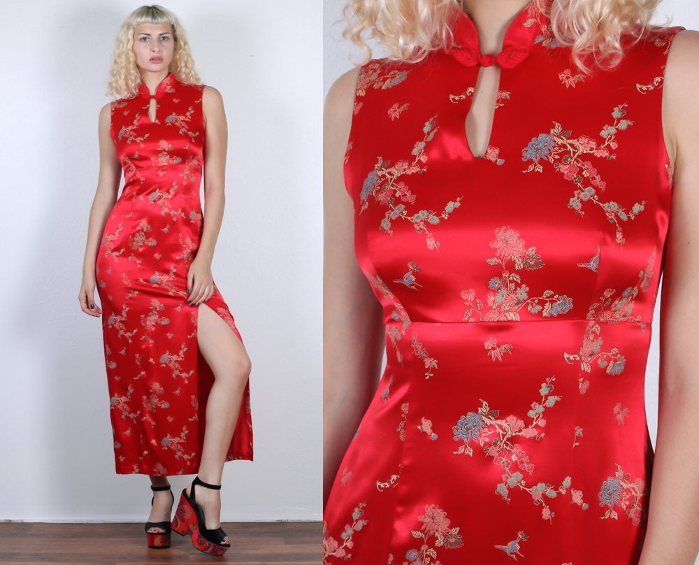 90s Cheongsam Style Dress // Vintage Red Maxi Slit Cocktail Dress Chinese Qipao - Small