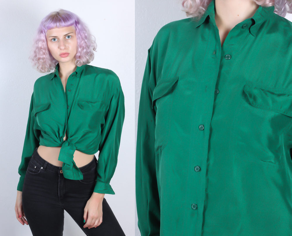 90s Green Silk Shirt - Extra Large