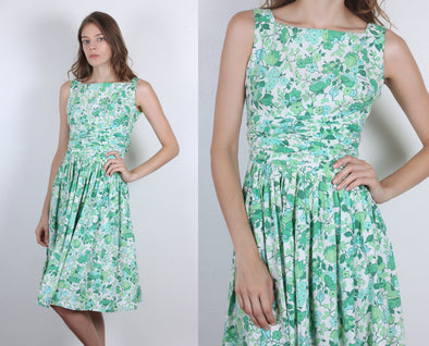 60s Floral Dress // Vintage Ruched Waist Knee Length Dress Green White Square Neck - Extra Small xs