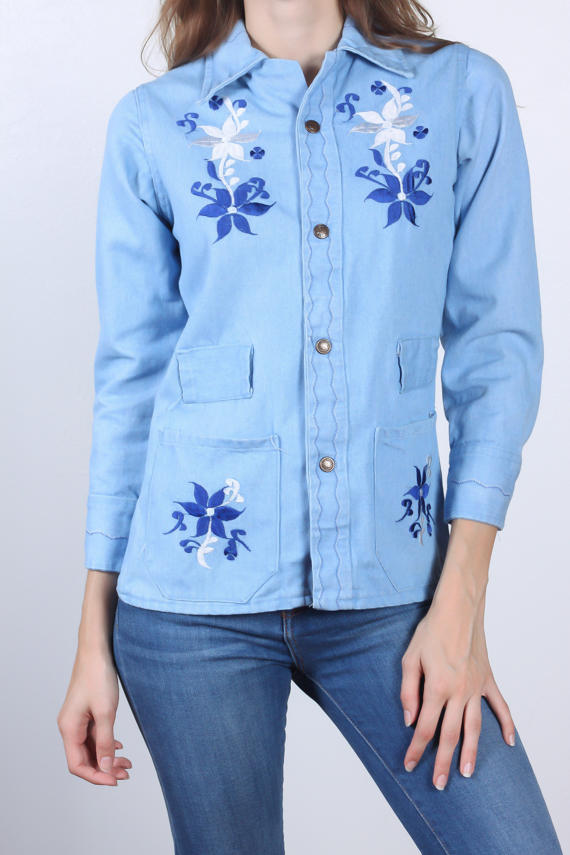 70s Embroidered Denim Shirt