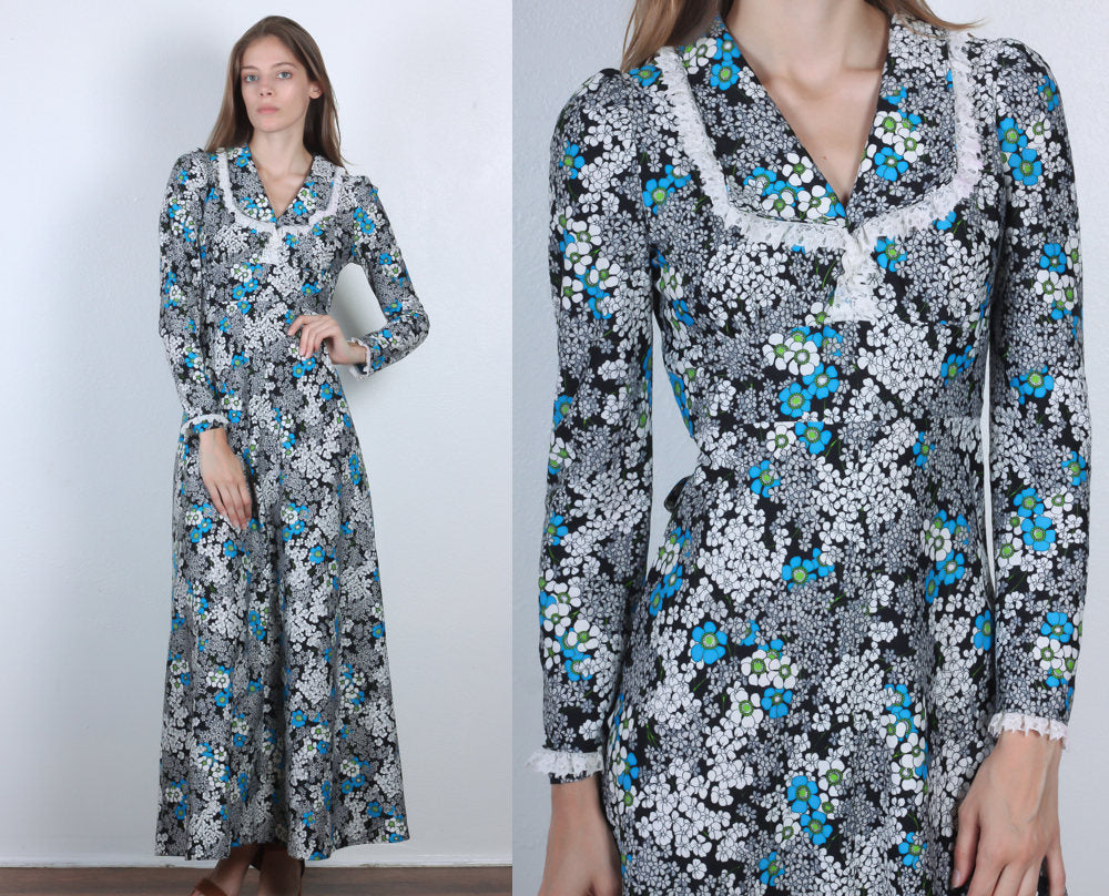 a6a037ff9e 70s Floral Maxi    Vintage Lace Ruffle Collar Long Sleeve Dress - Extr – Flying  Apple Vintage