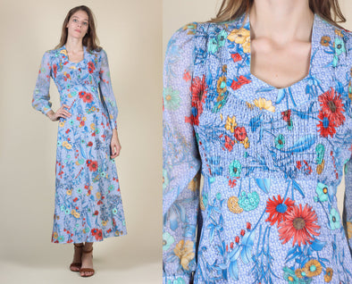 70s Floral Maxi // Vintage Sheer Sleeve Empire Waist Boho Prairie Dress - Extra Small XS