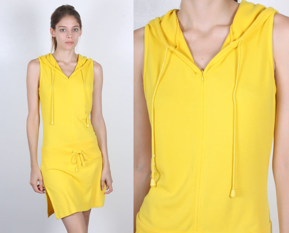90s Yellow Hooded Skort Dress