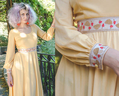 70s Mushroom Dress // Vintage Long Sleeve Yellow Psychedelic Hippie Maxi Dress - Small
