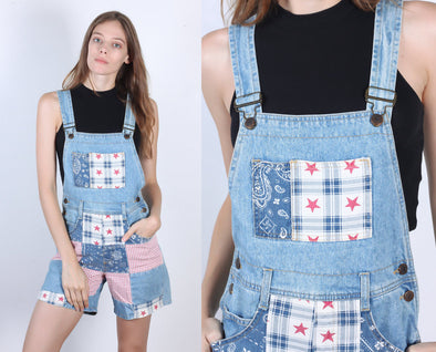90s Patchwork Overalls Shorts // Vintage Red White & Blue Quilted Shortalls - Small
