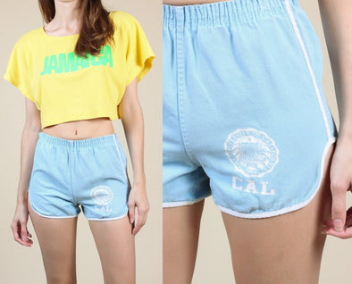 Vintage University Track Shorts // 70s 80s University California Running Shorts Hot Pants - XS