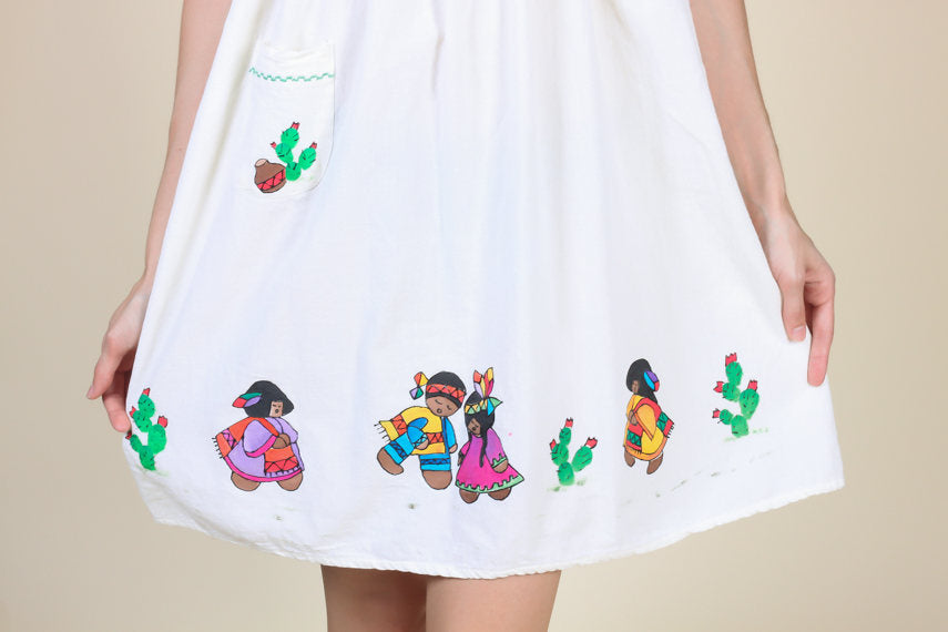 Painted Mexican Dress Green Trim