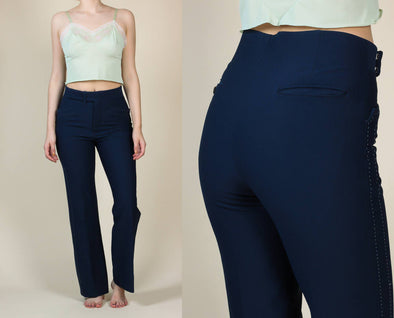 70s Exposed Stitch Trousers // Vintage Navy Blue Bootcut High Waisted Pants - Small