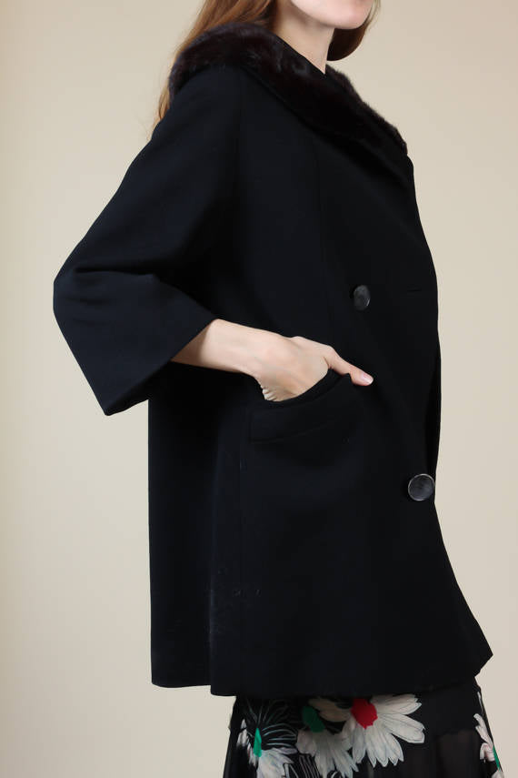 60s Faux Fur Collar Wool Coat - Small