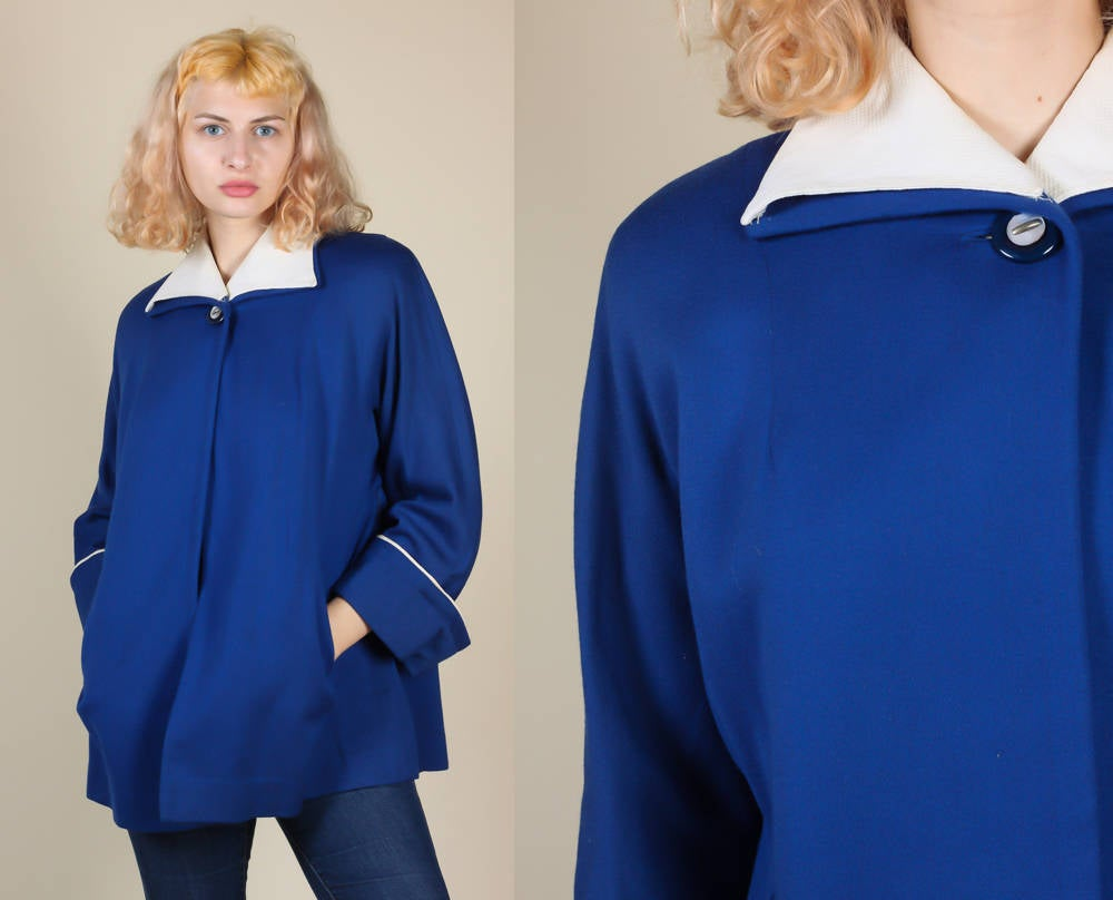 1940s Blue Swing Coat - Large