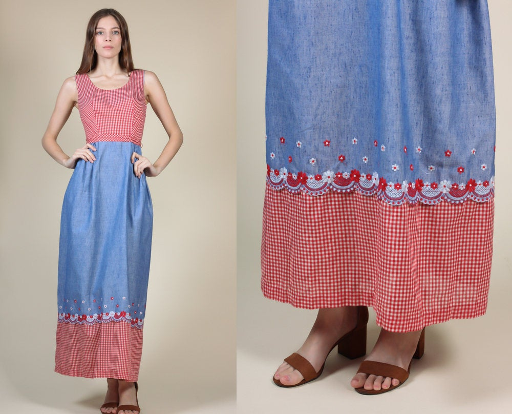 70s Gingham Floral Maxi Dress - Small
