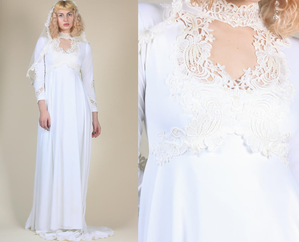 Vintage 70s Wedding Gown - Small/Medium