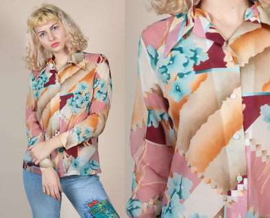 70s Abstract Floral Disco Top - Large