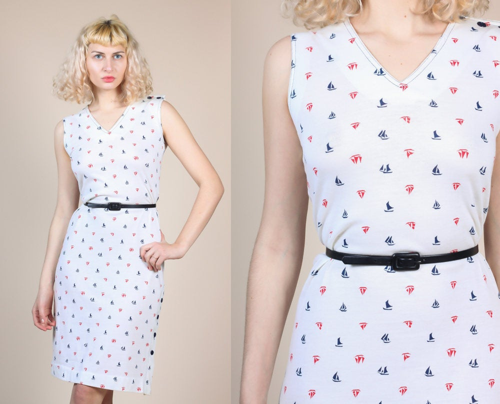 Vintage Sailboat Belted Dress - Large