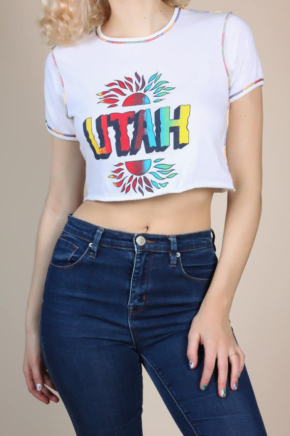70s Rainbow Stitching Utah Shirt
