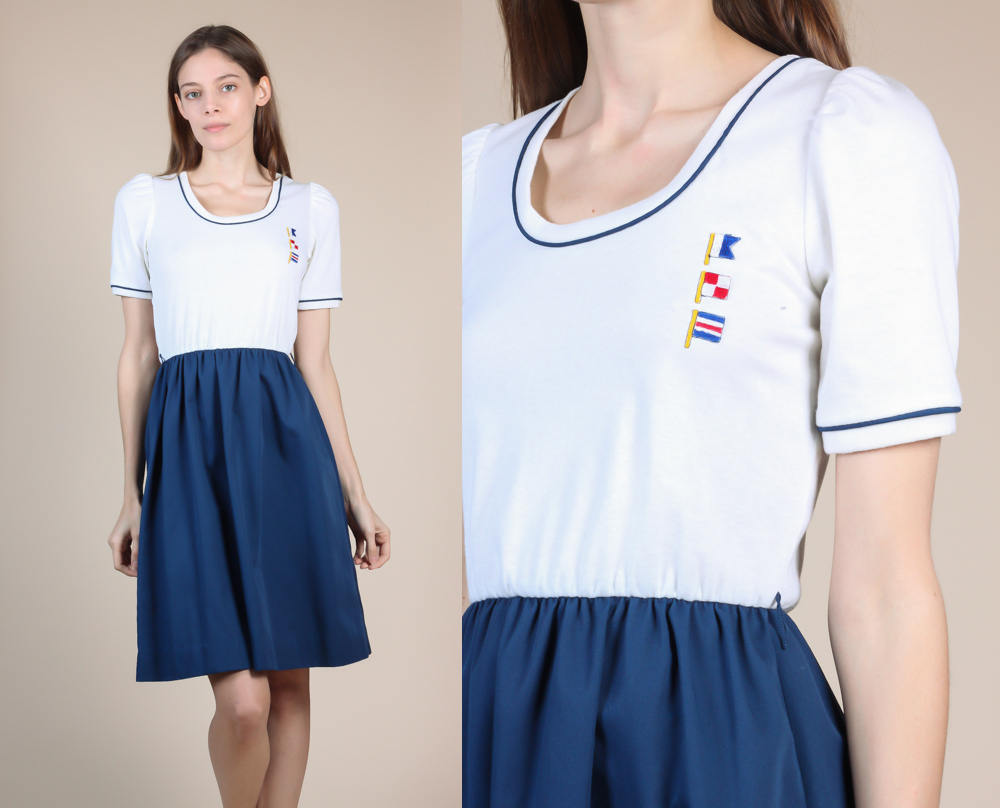 Vintage Nautical Flag Dress - Small