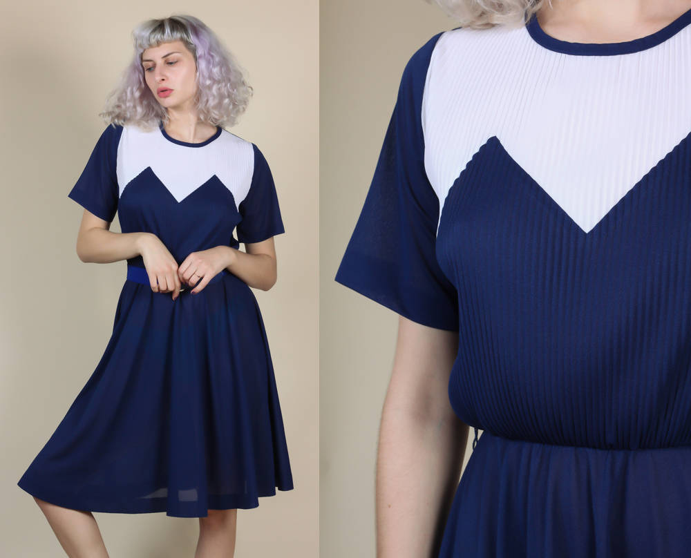 70s Knife Pleated Geometric Dress