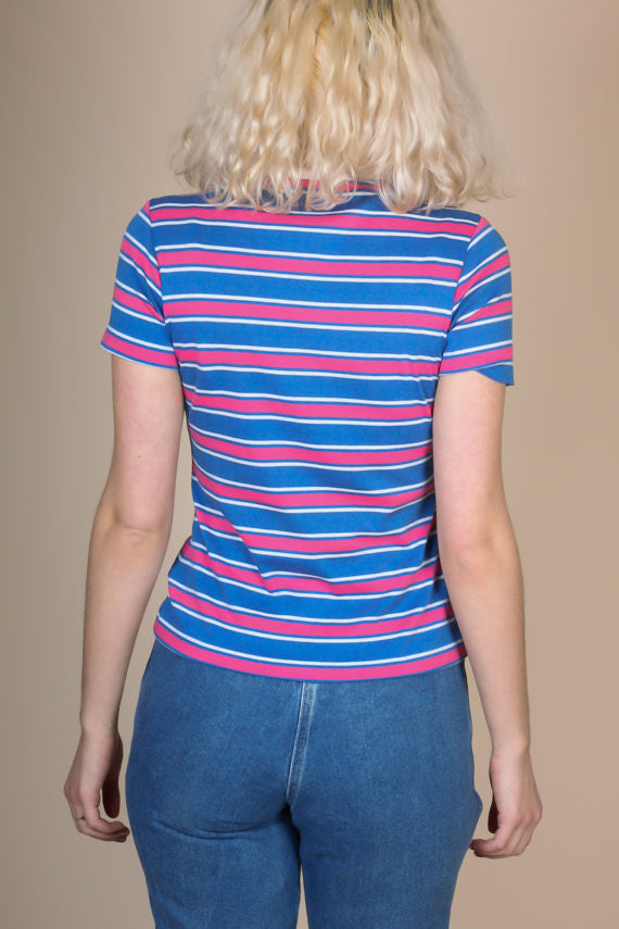 80s Striped Collared Top - Medium