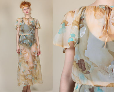 70s Sheer Floral Dress // Vintage Flutter Sleeve Boho Grecian Maxi - Small