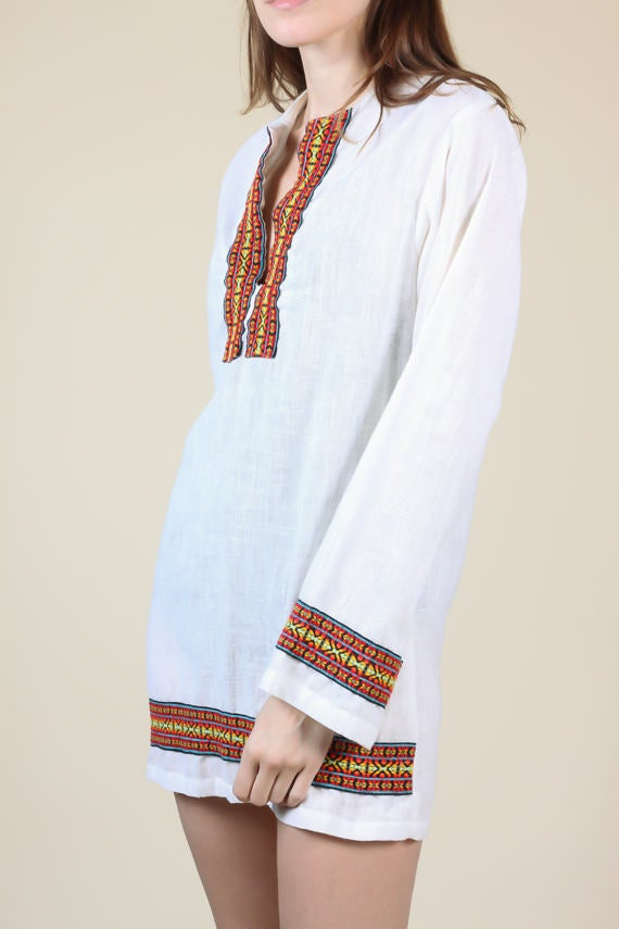 70s Embroidered Hippie Tunic - Men's XS, Women's Small