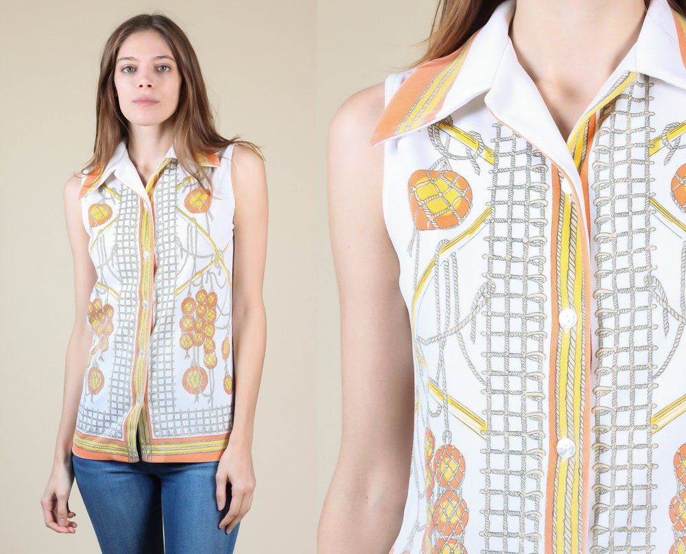 70s Novelty Nautical Knot Shirt - Small