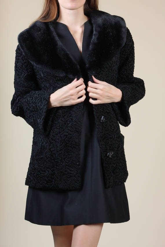 60s Black Persian Lamb Faux Fur Coat - Large
