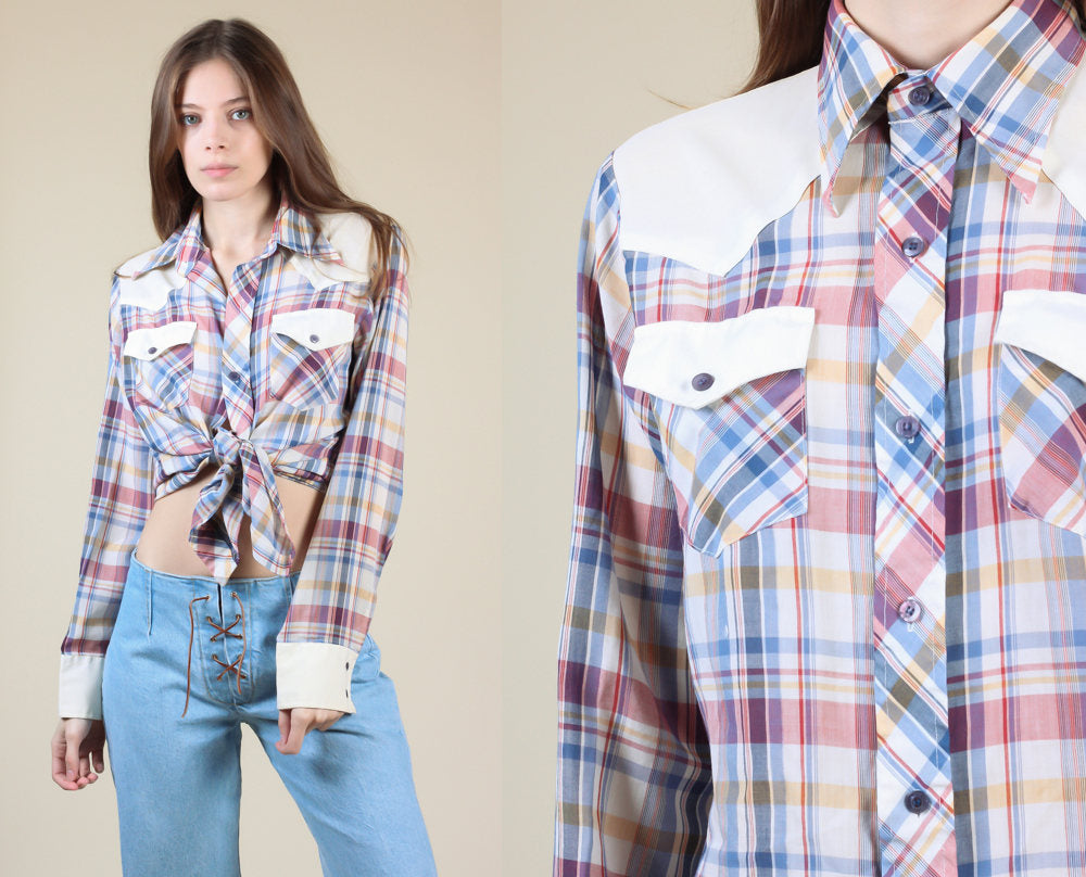 70s Plaid Western Shirt - Men's Small