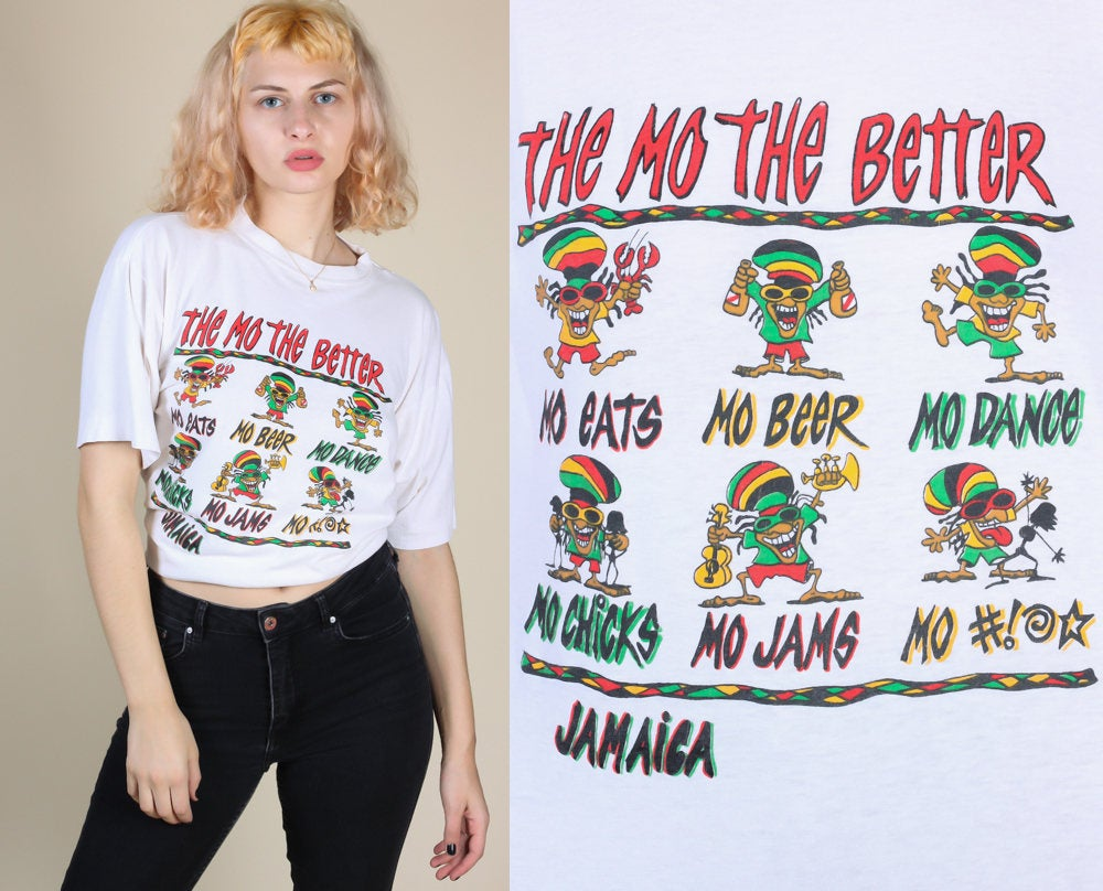 90s Jamaica 'Mo Beer, Mo Chicks' Tee - Mens Large