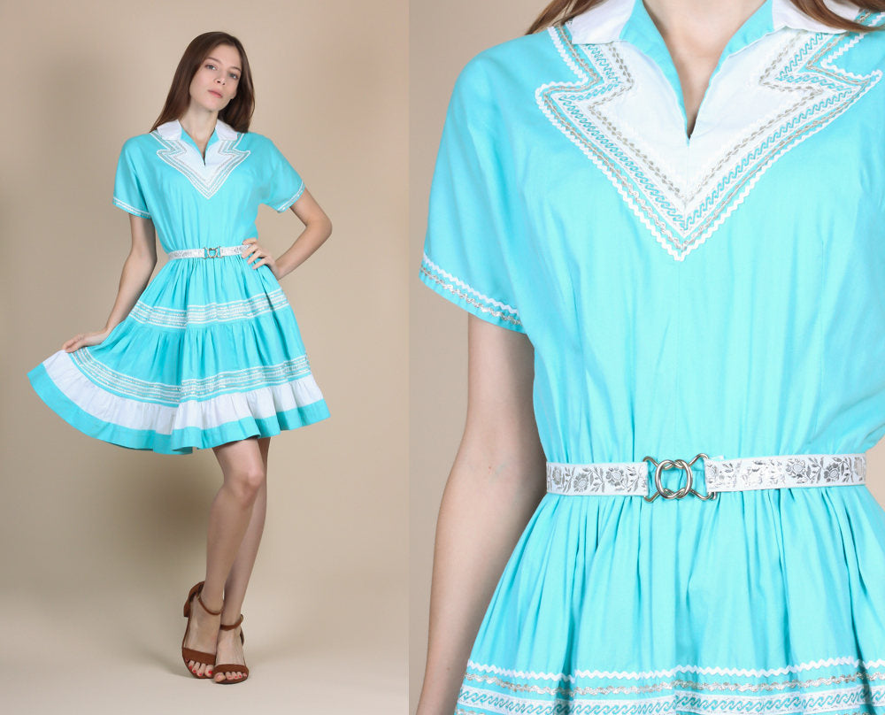1950s Metallic Western Patio Dress - Small