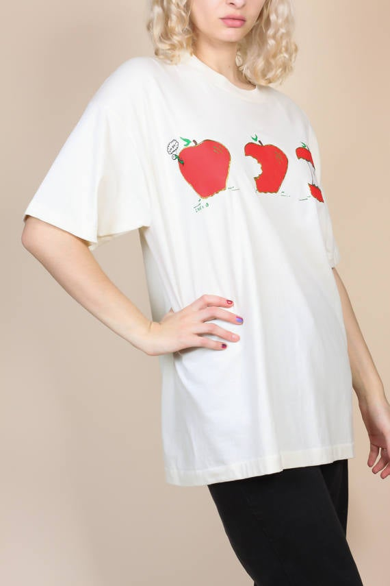 90s Apple Puff Paint T Shirt - XL