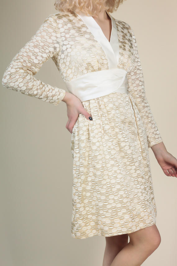 50s Embroidered Party Dress - Small