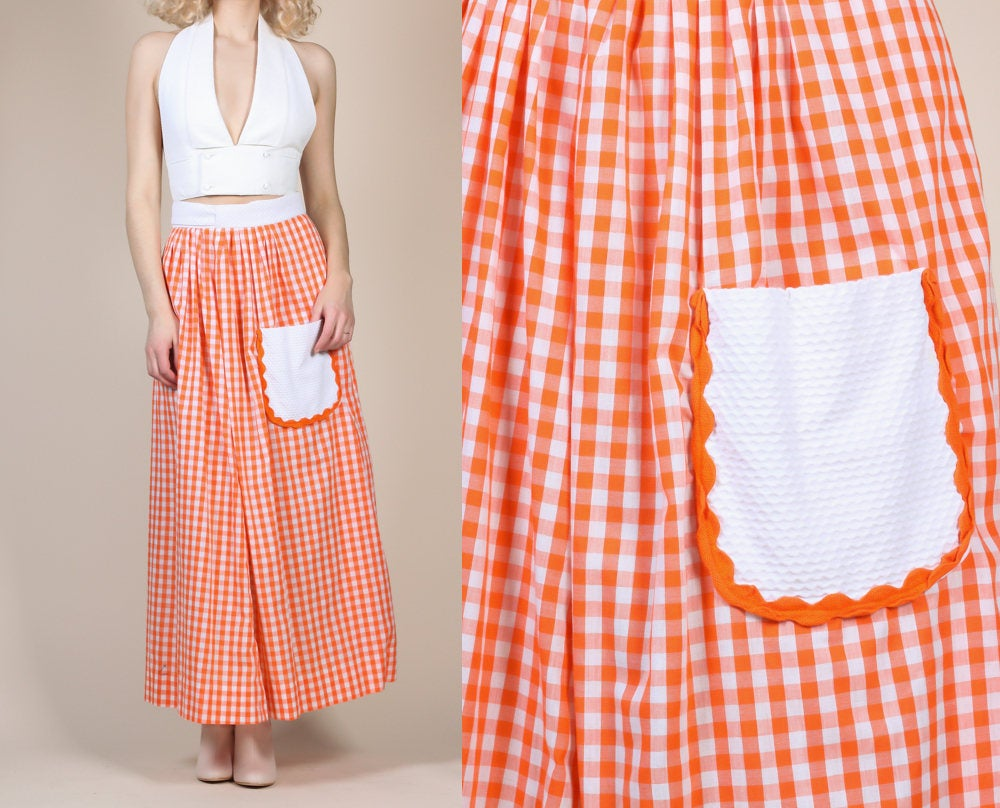 70s Gingham Maxi Skirt - One Size