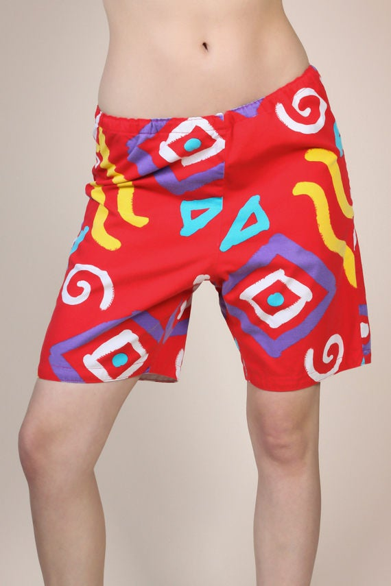 Vintage 80s Swim Shorts - Mens Medium