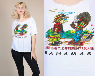 Same Shit Different Island Vintage Bahamas T Shirt - Large