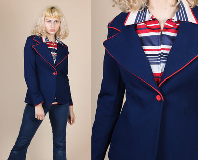 70s Retro Oversized Collar Blazer - Small