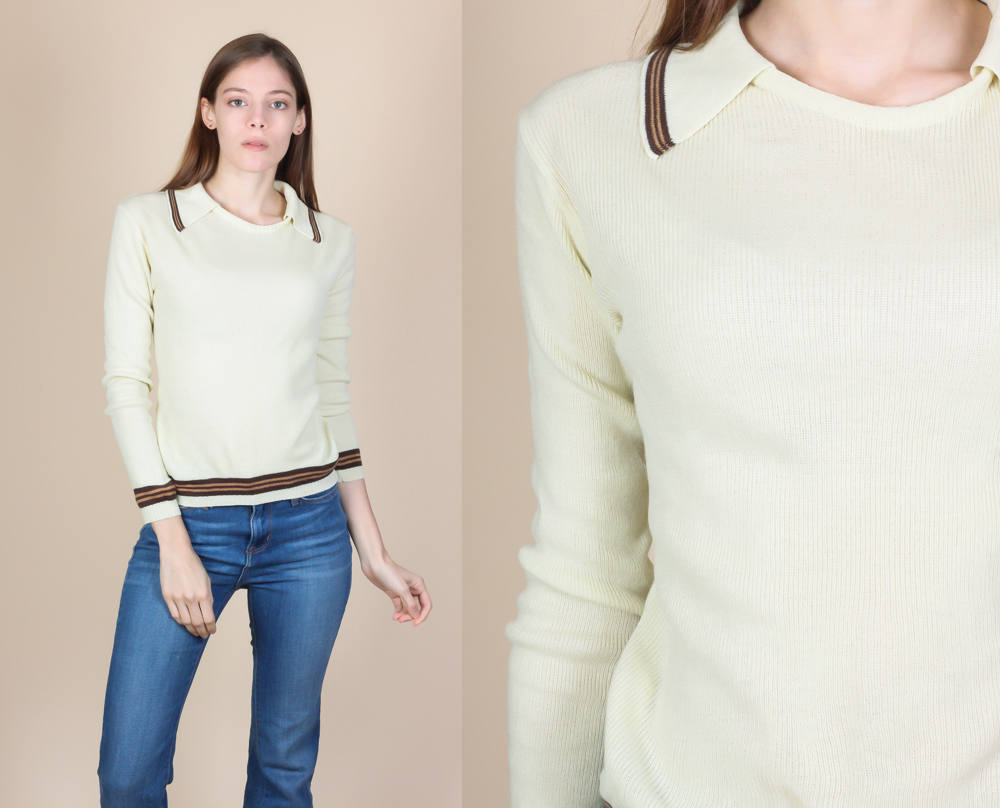 70s Collared Sweater Top - Small