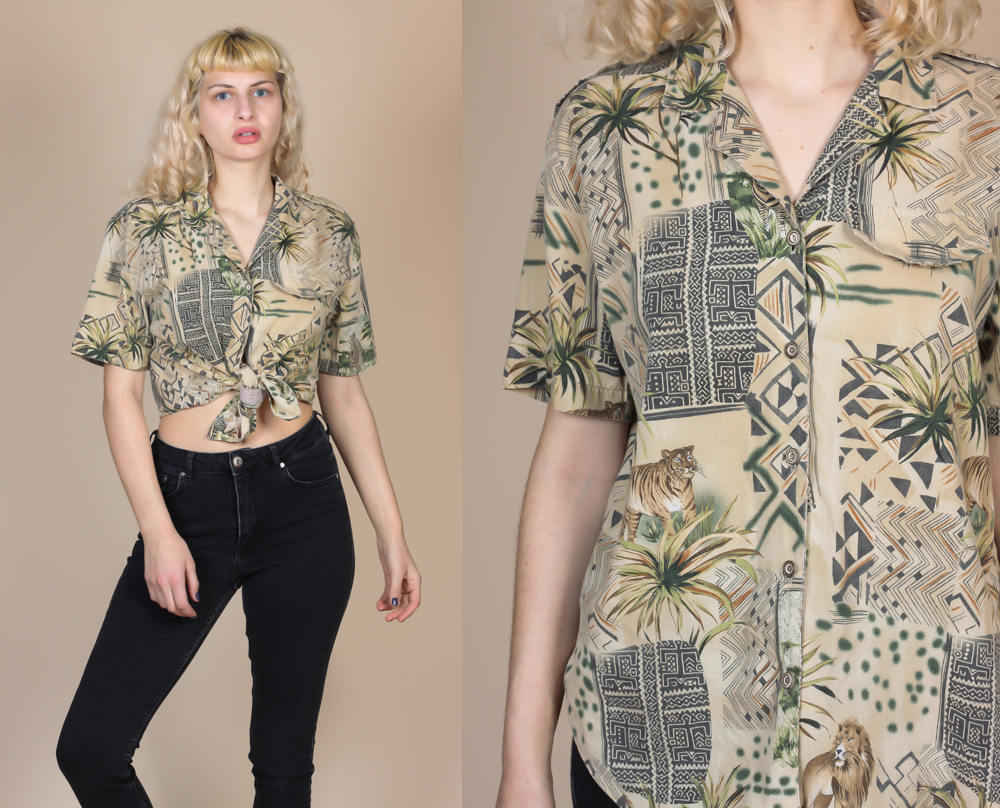 90s Safari Button Up Blouse - Large